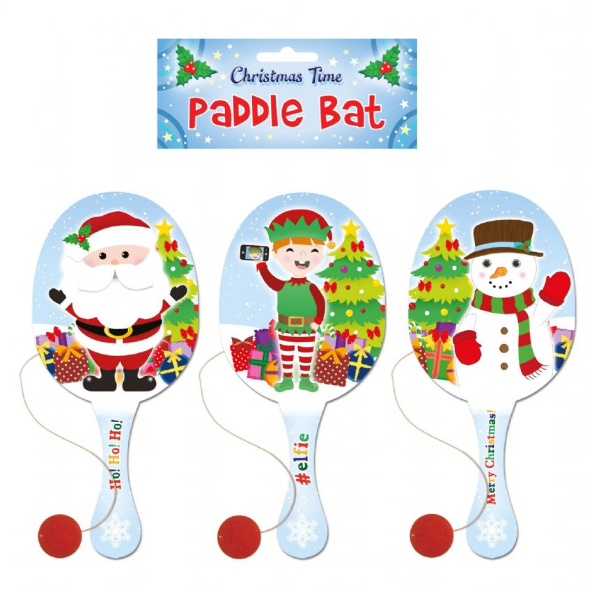 Large 22cm Wooden Paddle Bat & Ball Festive Christmas Design - Assorted Designs